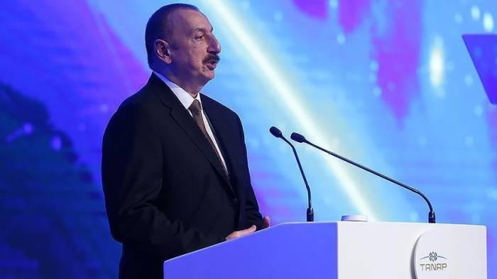 """علييف: """"تاناب"""" تحقق بفضل الإرادة السياسية الحكيمة لقادة تركيا وأذربيجان"""
