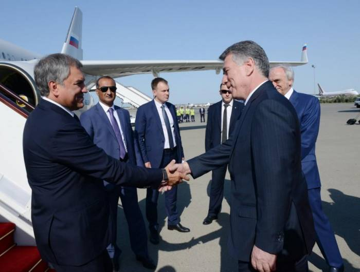 Russian State Duma Chairman arrives in Azerbaijan with official visit