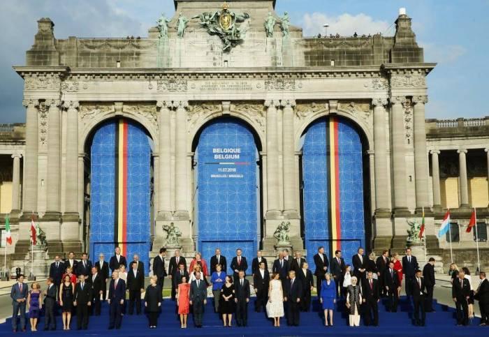 Ilham Aliyev nimmt an dem Empfang für die Staats- und Regierungschefs der NATO-Verbündeten und -Partner teil