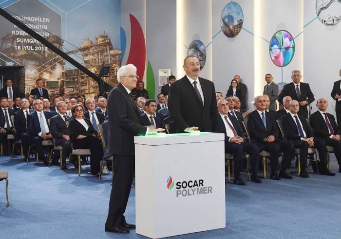 Prezidentlər Sumqayıtda zavod açılışında - FOTOLAR