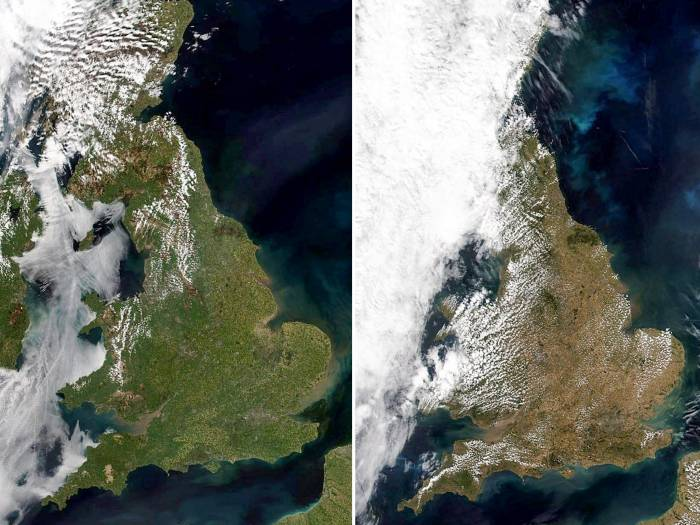 Heatwave turns Britain from green to brown in satellite photos