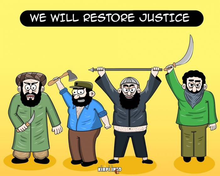 Terror with swords and hijab - CARTOONS