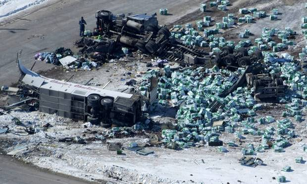Canada hockey bus crash: truck driver charged over collision that left 16 dead