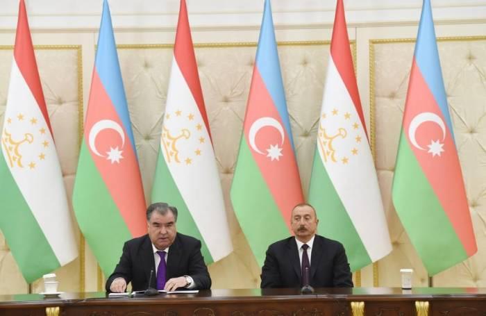 Presidents of Azerbaijan, Tajikistan make statements for press - UPDATED