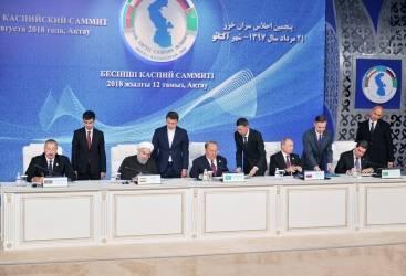 أذربيجان وكازاخستان وروسيا وإيران وتركمانستان توقع على اتفاقية الصفة القانونية لبحر الخزر