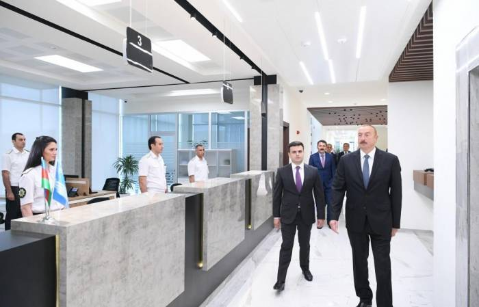 Azerbaijani president attends opening ceremony of logistics center