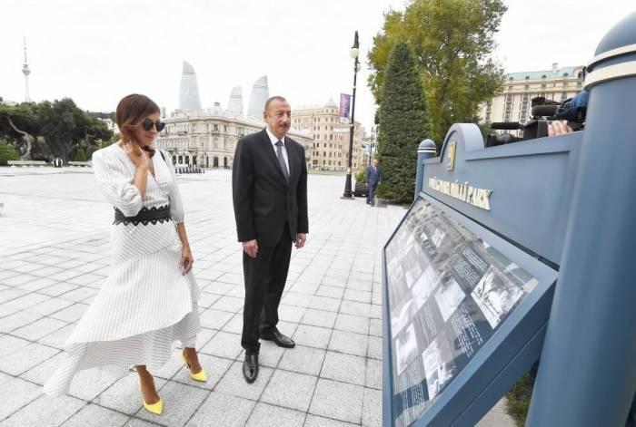 Prezident və xanımı fəvvarə kompleksinin açılışında - FOTOLAR