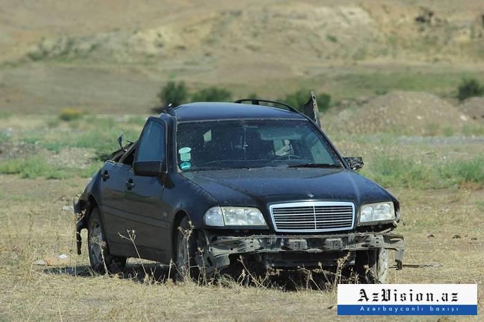 Şəkidə maşın aşıb, sürücü yaralanıb - FOTOLAR