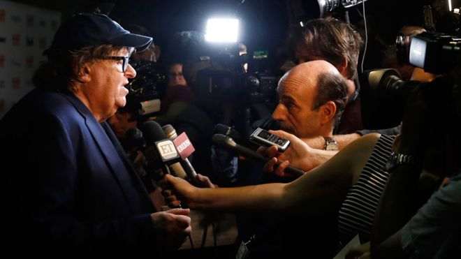 Michael Moore premieres Trump