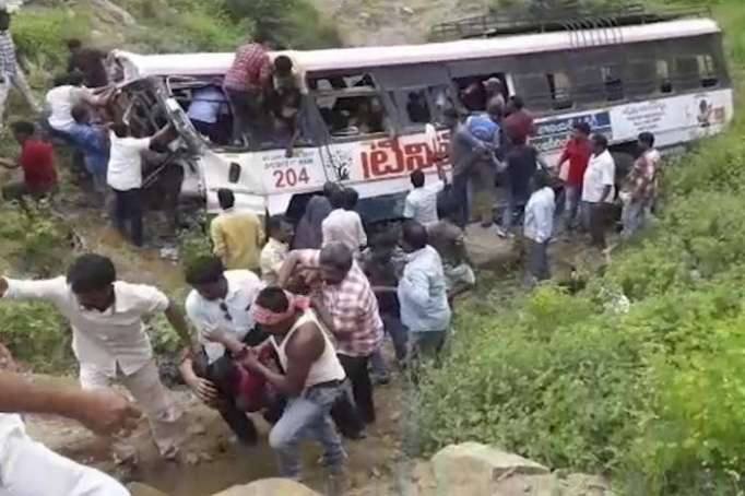 Bus crash in S. India leaves at least 45 people killed
