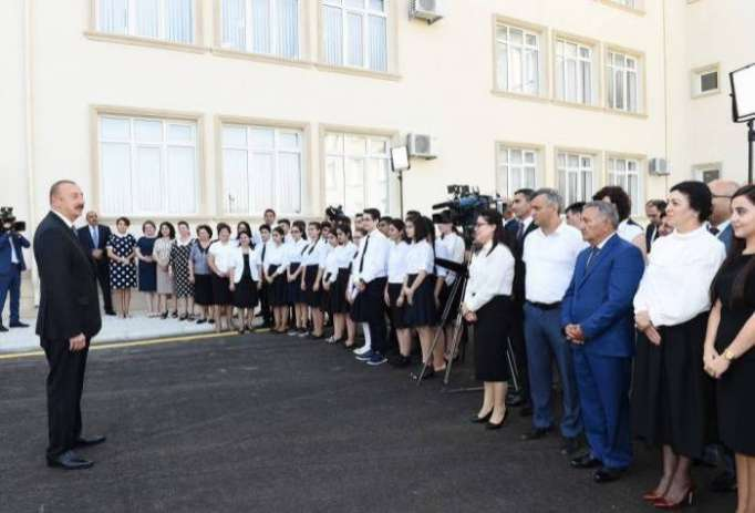 Ilham Aliyev makes speech at inauguration of Mashtagha secondary school - UPDATED