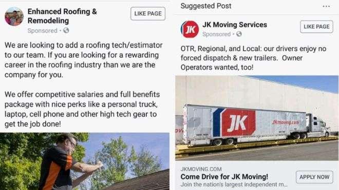 Facebook accused of job ad gender discrimination