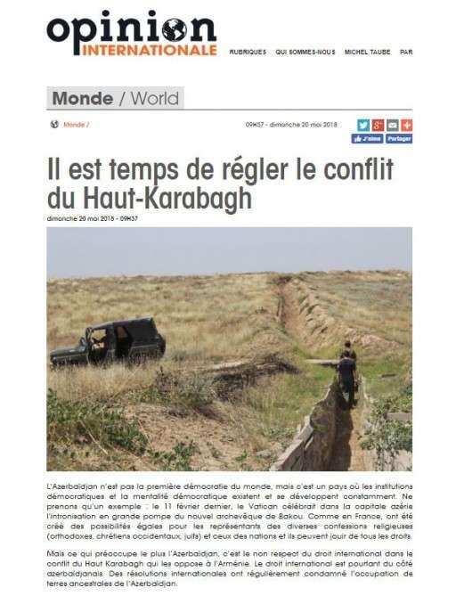 """""""Opinion Internationale"""": Es ist Zeit, den Berg-Karabach-Konflikt zu regeln"""
