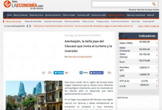 """""""Diario la Economía"""": Azərbaycan Qafqazın incisidir"""