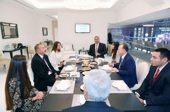 Azerbaijani president, first lady meet president of