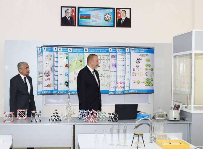 Ilham Aliyev views conditions created at school in Zabrat after overhaul