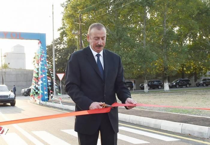 Präsident Ilham Aliyev weiht Automobilstraße Hirkan-Daschtatük-Bilasar ein
