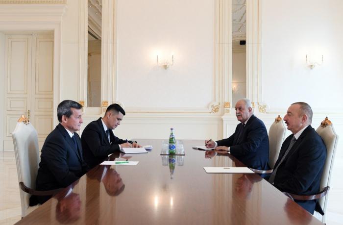 Staatspräsident Ilham Aliyev empfängt stellvertretenden Vorsitzenden von Ministerkabinett Turkmenistans