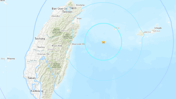 Earthquake of magnitude 5.9 strikes Taiwan
