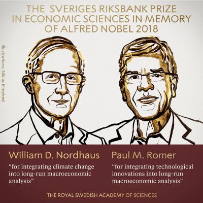 US duo William Nordhaus, Paul Romer win 2018 Nobel economics prize