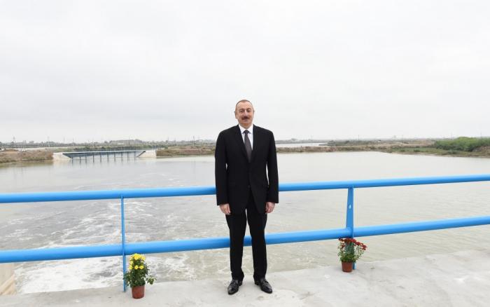Araz çayının yeni qol-kanalının açılış mərasimi keçirilib - FOTOLAR