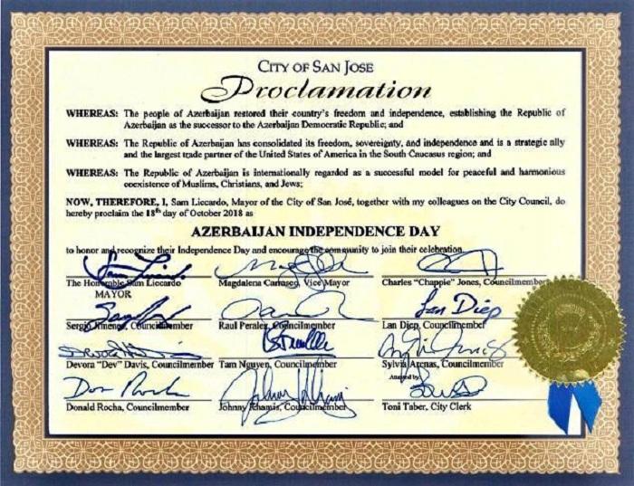 Le 18 octobre proclamé Jour de l'indépendance de l'Azerbaïdjan à San José