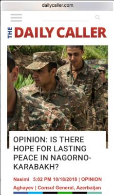 The Daily Caller publica un artículo respecto a la política agresora de Armenia