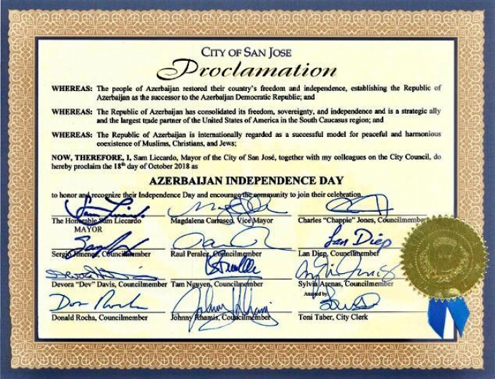 City of San Jose in California proclaims October 18 as