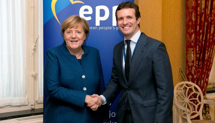 Casado cuestiona ante Merkel los presupuestos de Sánchez