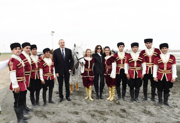 Azerbaijani president, first lady attend opening of Qarabag Equestrian Complex