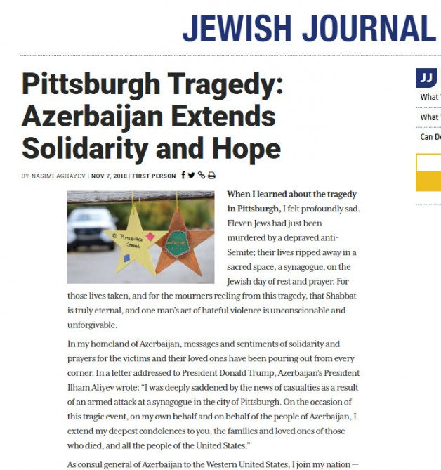 U.S. Jewish Journal newspaper publishes Azerbaijani consul general's article
