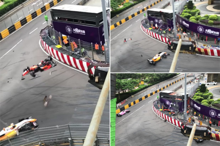 Incredible crash in Formula 3 Macau Grand Prix - NO COMMENT