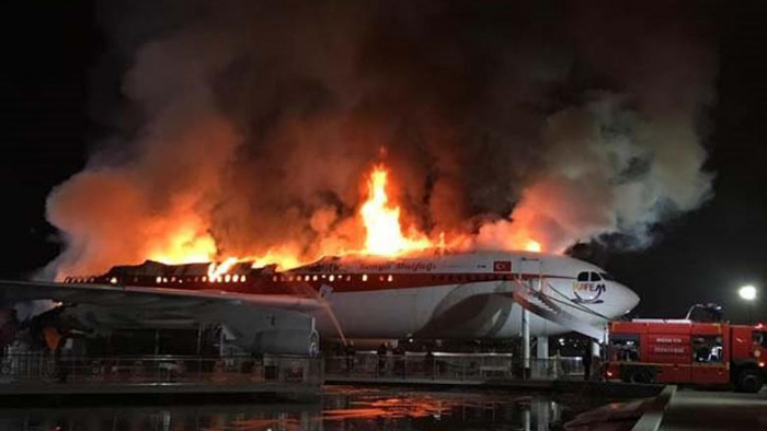 Airbus A300 aircraft burns down in Turkey