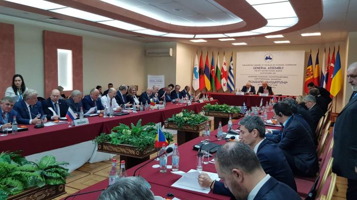 Azerbaijani MPs attending PABSEC plenary session in Yerevan