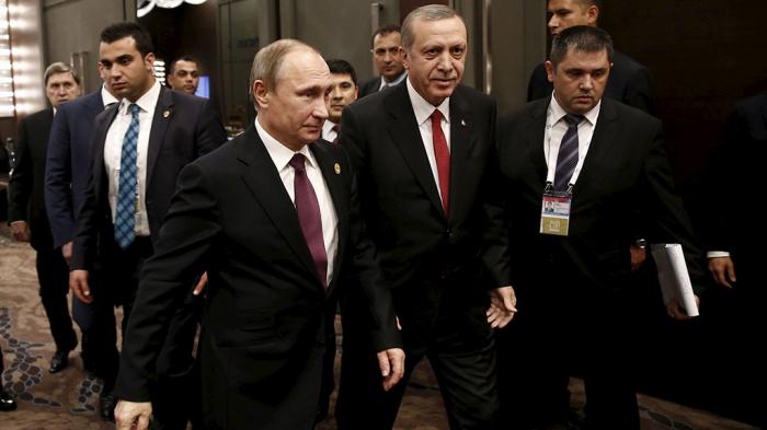 Putin Ərdoğanla tarixi tədbirdə - VİDEO