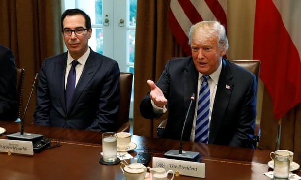 Trump denies report he is unhappy with treasury secretary Steve Mnuchin