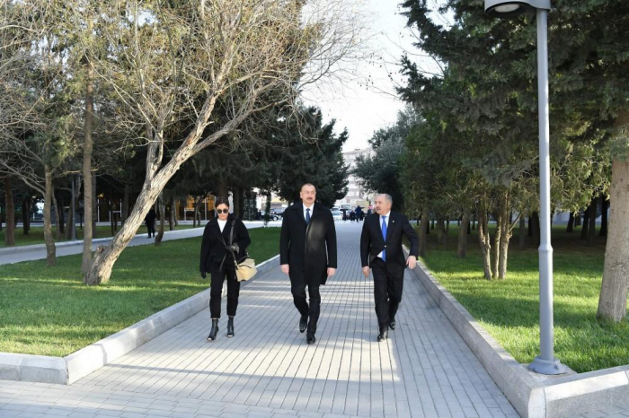 Azerbaijani president, first lady view newly-reconstructed recreation park in Baku