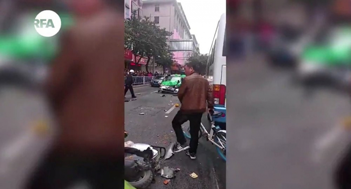 Man rams bus into crowd after hijacking it in Longyan, China