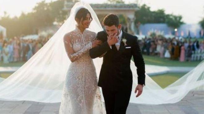 Bollywood star Priyanka Chopra unveils 75-ft long wedding veil