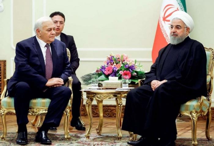 Oqtay Əsədov Ruhani ilə görüşüb - FOTO