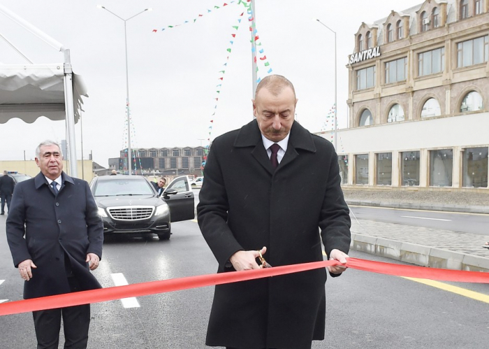 President Aliyev attends opening of newly-built road in Baku