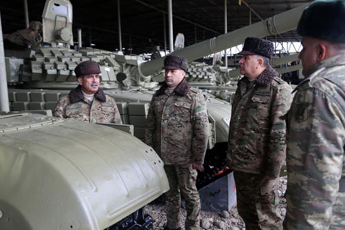 Azerbaijani defense minister checks combat readiness of armored vehicles deployed on frontline