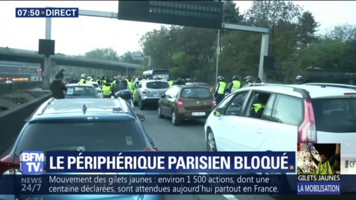"""""""Gilets jaunes"""" : le périphérique parisien bloqué"""