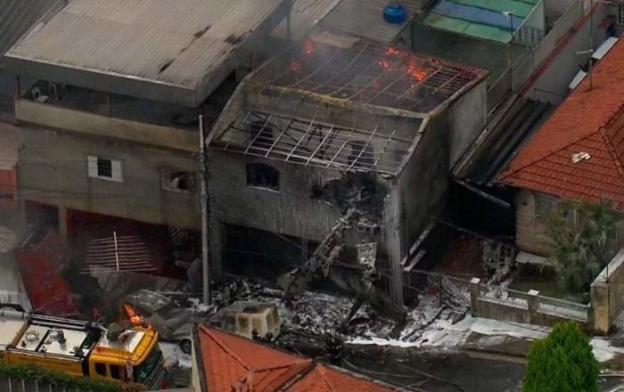Small plane crashes in metropolitan Sao Paulo, two killed