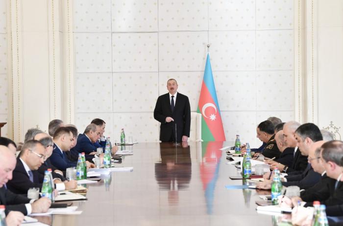 Laréunion du Conseil des Ministressous la présidence duprésident Ilham Aliyev