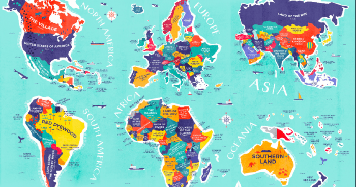 This enlightening map shows the literal meaning of every country