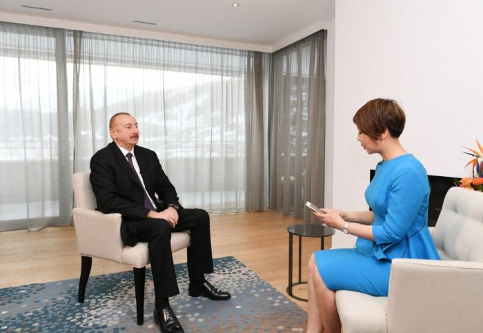 """Davos: Präsident Ilham Aliyev gibt Interview für chinesischen Sender """"CGTN"""""""