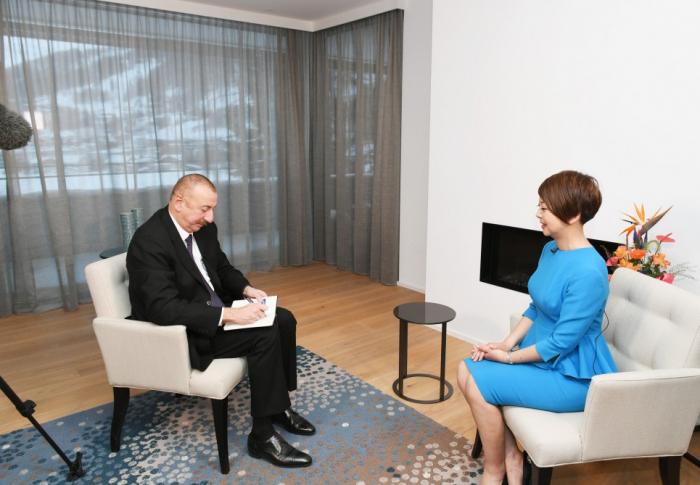 Davos : interview du président Ilham Aliyev à la chaîne de télévision chinoise CGTN