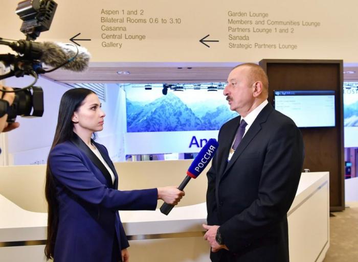 President Aliyev interviewed by Rossiya 1 and CGTN TV channel in Davos