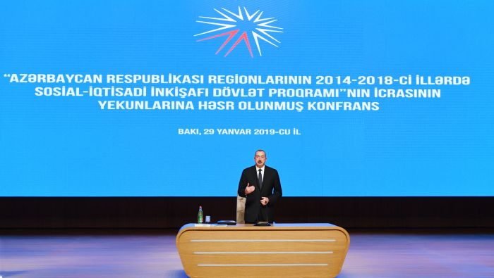 Azerbaijani President Ilham Aliyev attends conference on results of implementation of State Program-  PHOTO